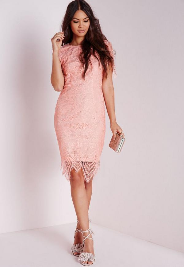 Lace Short Sleeve Bodycon Dress Pink