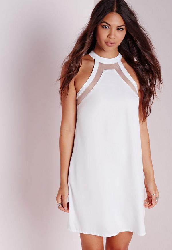 Mesh Insert Swing Dress White