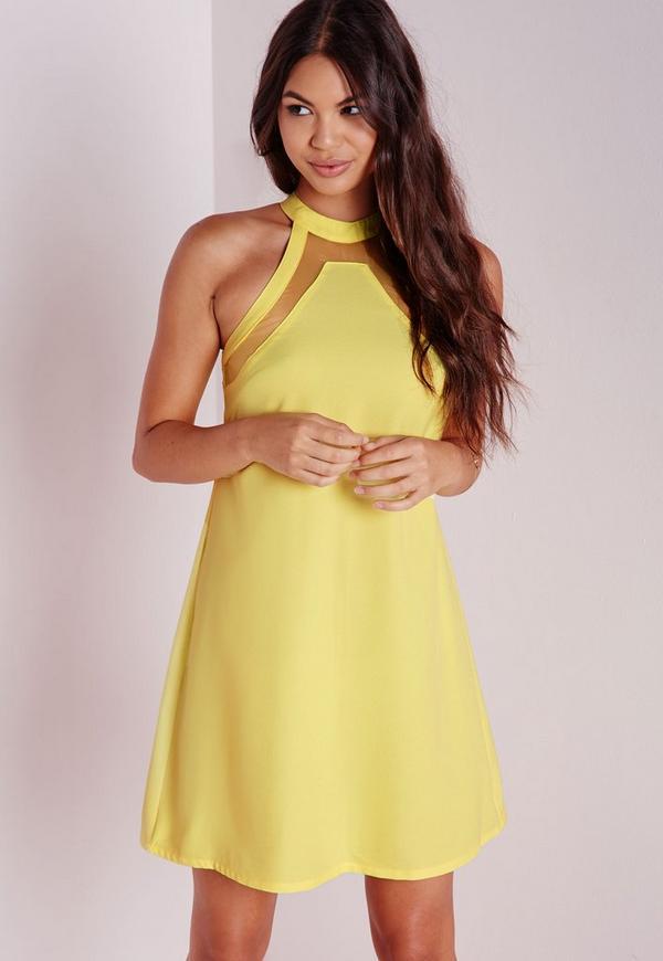 Mesh Insert Swing Dress Yellow
