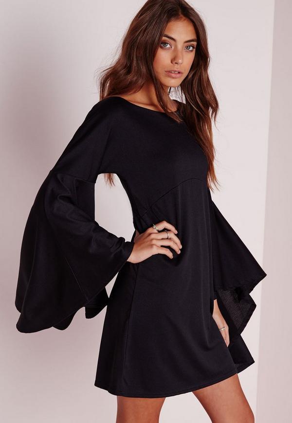 Flared Sleeve Swing Dress Black