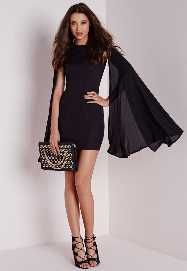 Crepe Flared Sleeve Bodycon Dress Black