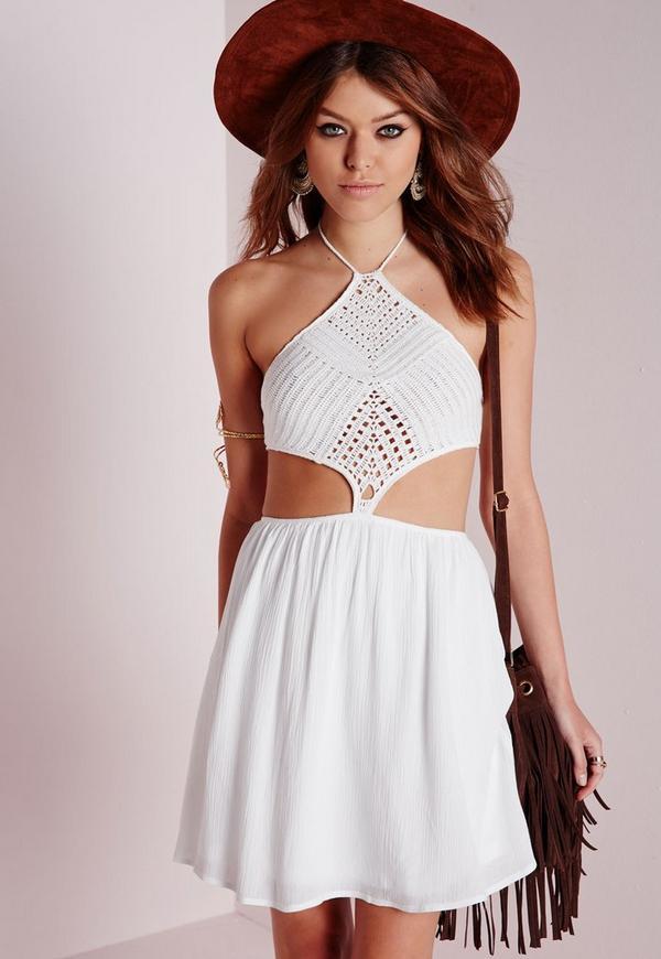 Crochet Bodice Cut Out Skater Dress White