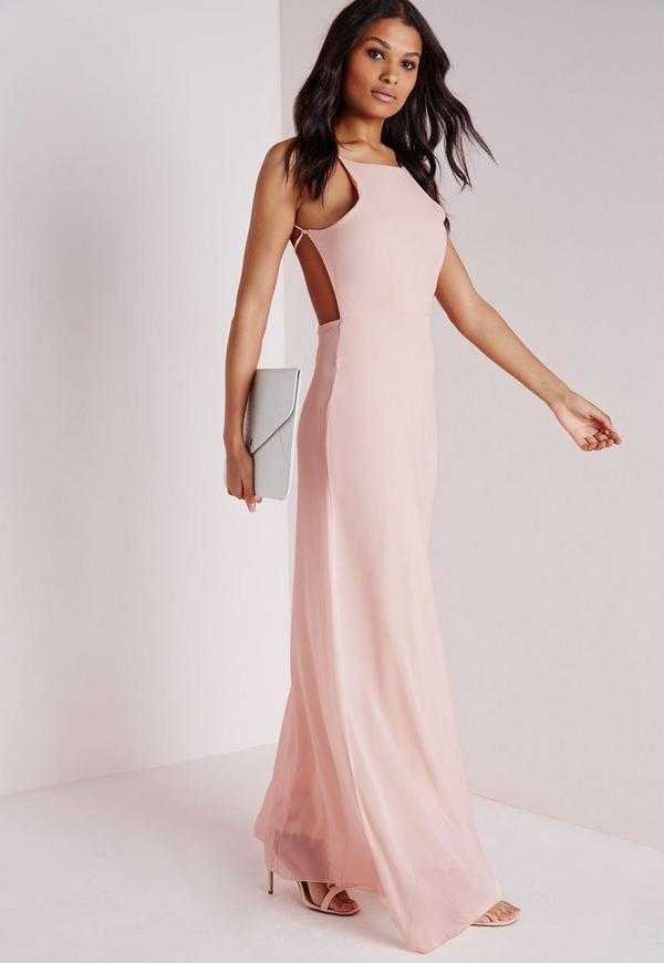 Strappy Back Maxi Dress Nude