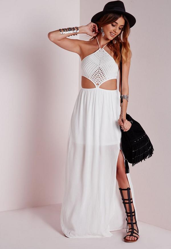Crochet Halter Neck Cut Out Maxi Dress White
