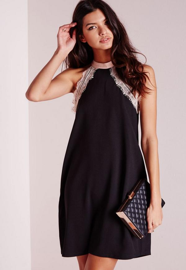High Neck Lace Trim Swing Dress Black/Nude