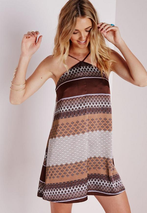 Centre Strap Swing Dress Brown Paisley Stripe