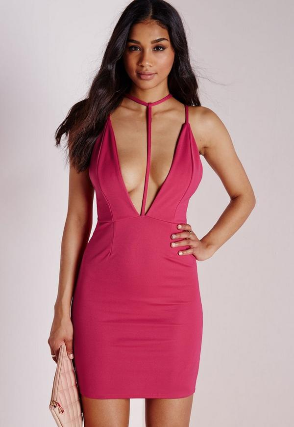 T Front Strap Bodycon Dress Hot Pink