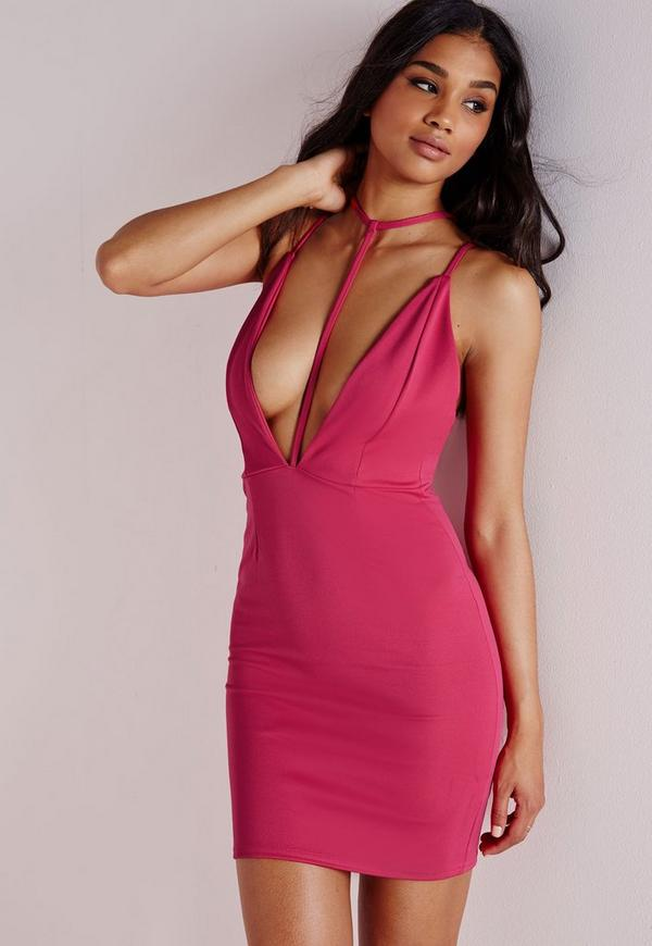 T Front Strap Bodycon Dress Hot Pink - Dresses - Bodycon Dresses ...