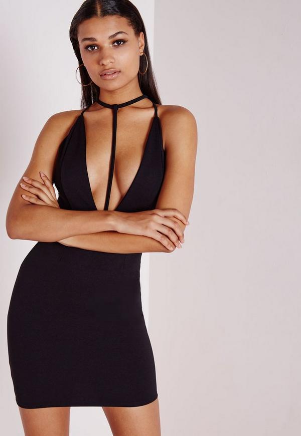 T Front Strap Bodycon Dress Black