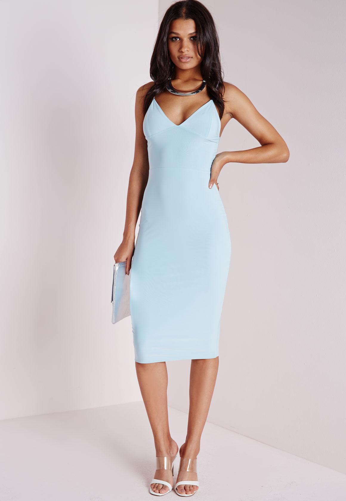 Slinky Strappy Midi Dress Powder Blue | Missguided