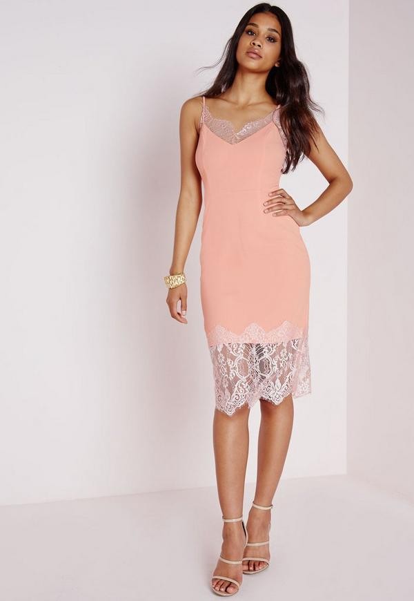 Eyelash Lace Midi Dress Blush