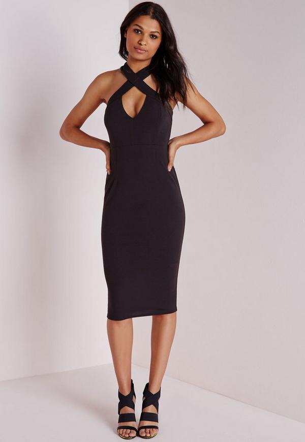 Crepe Cross Front Midi Dress Black