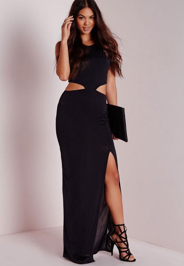Slinky Cut Out Detail Maxi Dress Black