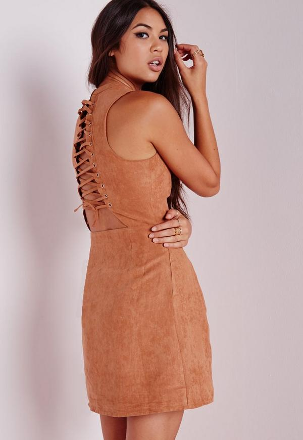 Faux Suede Lace Up Back Bodycon Dress Tan