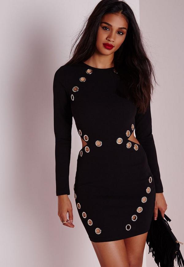 Eyelet Detail Cut Out Bodycon Dress Black