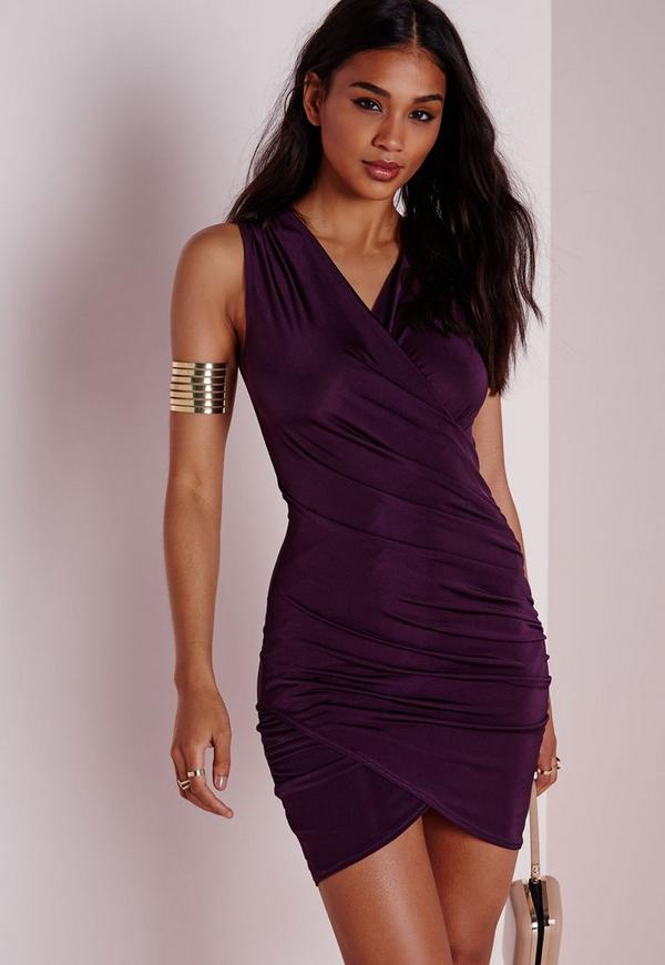 Slinky Wrap Bodycon Dress Purple