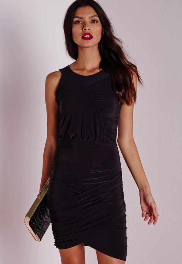 Slinky Ruched Bodycon Dress Black