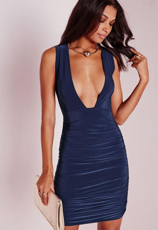 Slinky Plunge Ruched Bodycon Dress Navy