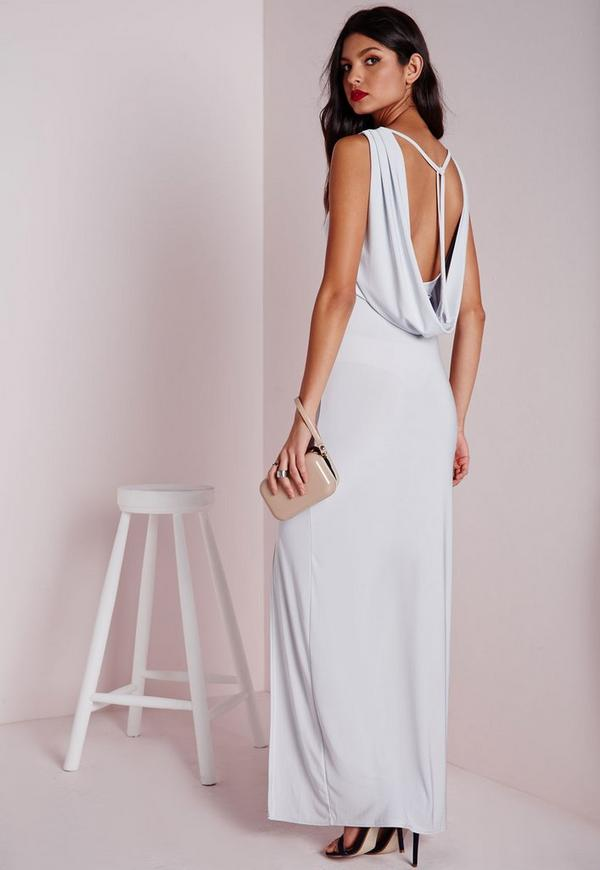 Slinky Cowl Back Maxi Dress Silver