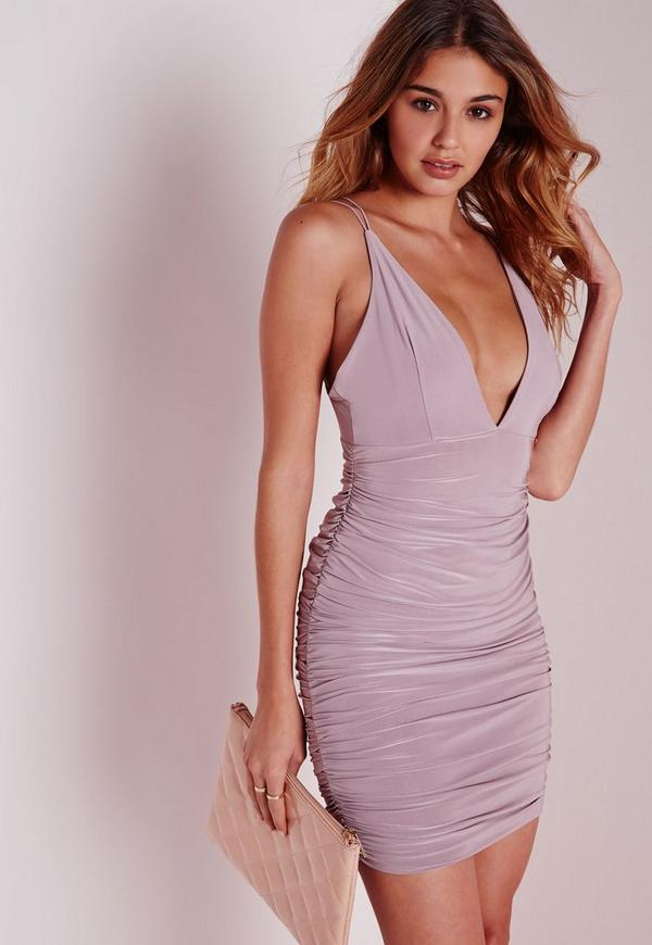 Slinky Double Strap Ruche Bodycon Dress Mauve