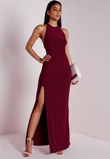 Slinky Side Split Maxi Dress Burgundy Missguided Australia