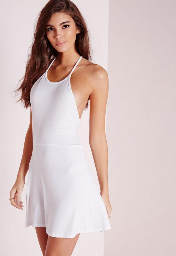 High Neck Skater Dress White