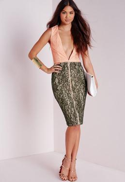 Khaki Contrast Lace Zip Midi Dress Nude
