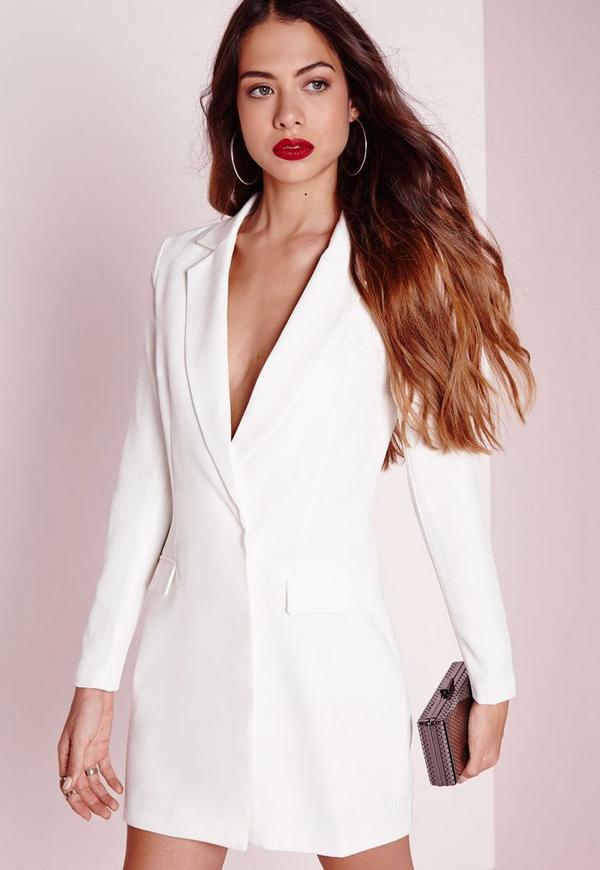 Long Sleeve Blazer Dress White