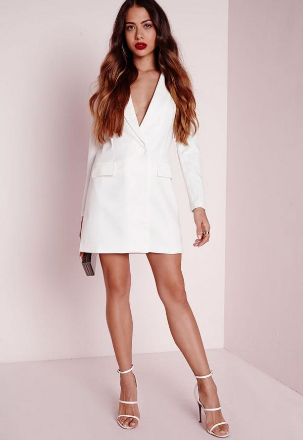 Long Sleeve Blazer Dress White | Missguided