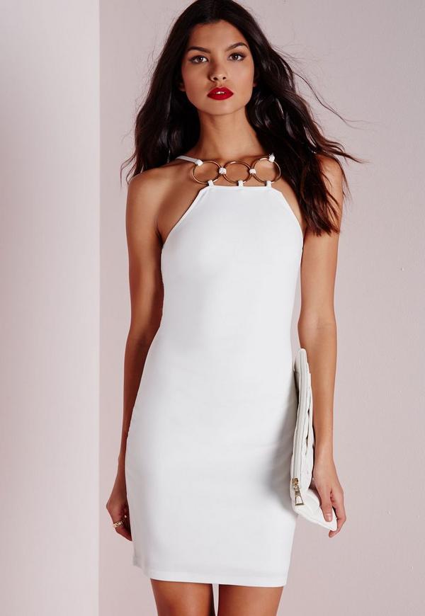 Gold Hoop Detail Crepe Mini Dress White