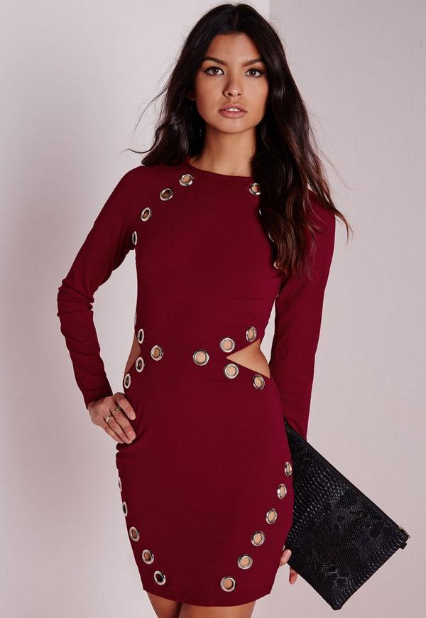 Eyelet Detail Cut Out Bodycon Dress Burgundy