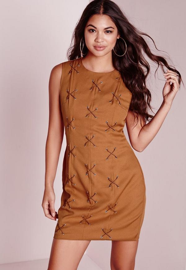 Cross Lace Up Detail A-Line Shift Dress Tan