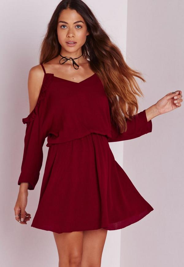 cheesecloth cold shoulder skater dress red missguided. Black Bedroom Furniture Sets. Home Design Ideas