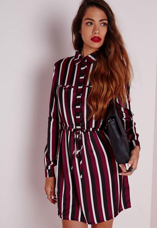 Drawstring Waist Shirt Dress Burgundy Stripe