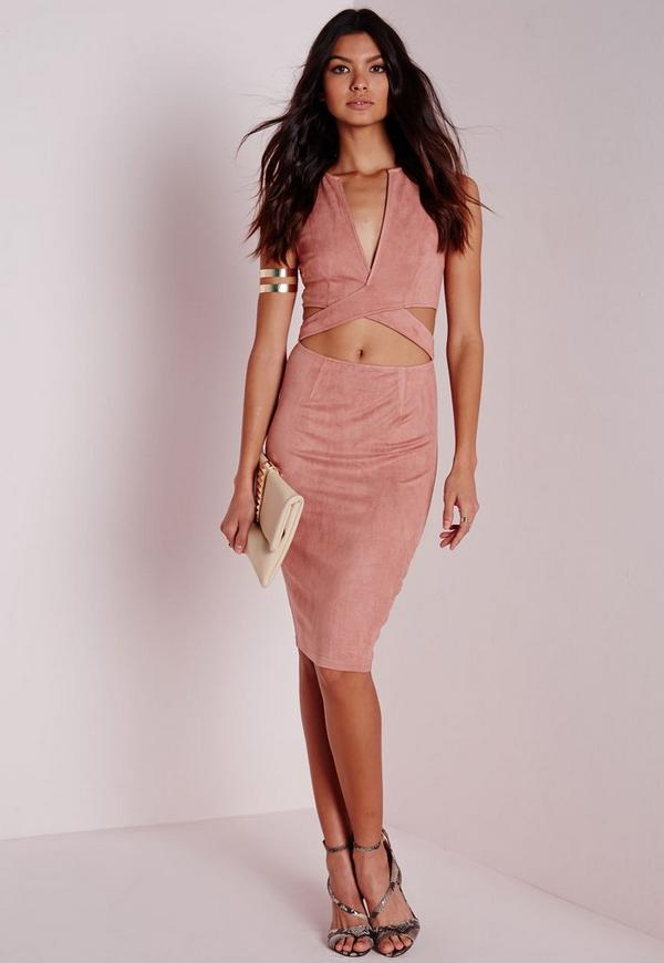 Faux Suede Plunge Cut Out Midi Dress Pink