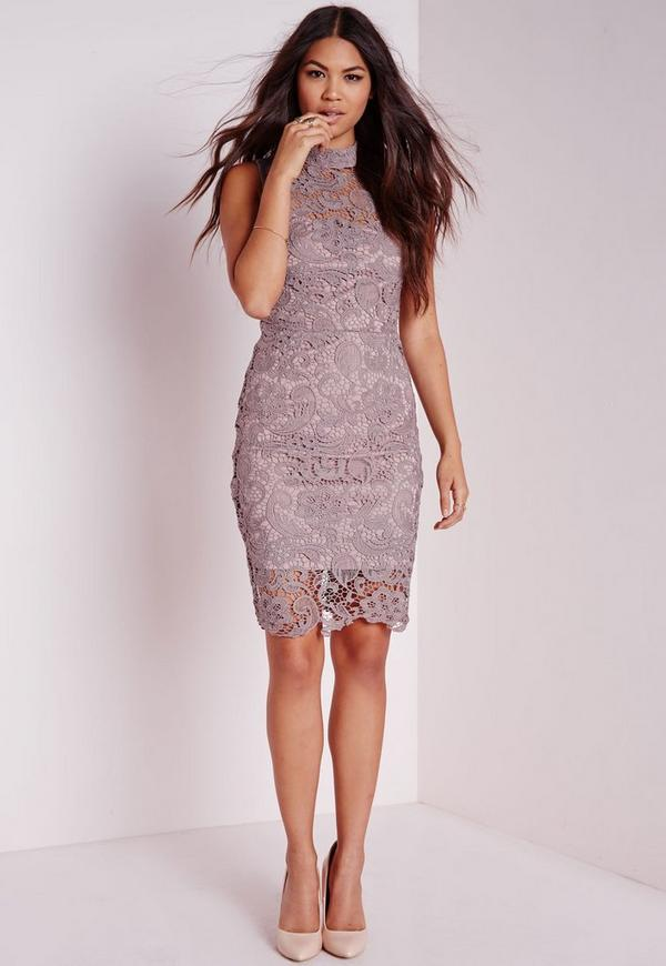 Lace Sleeveless High Neck Bodycon Dress Mauve