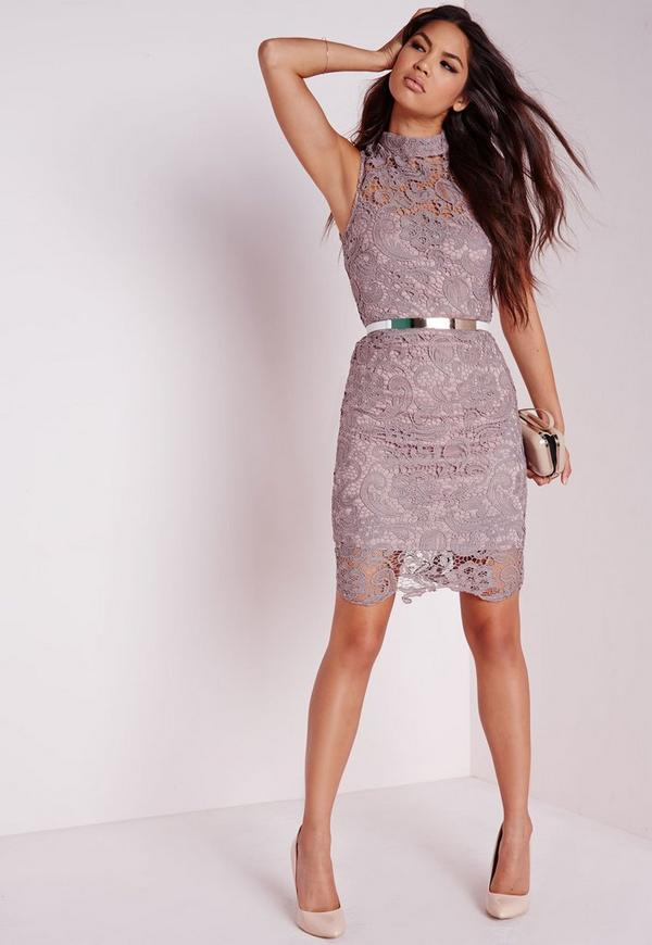 Lace Sleeveless High Neck Bodycon Dress Mauve | Missguided