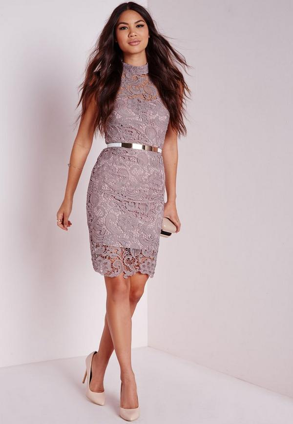 Lace Sleeveless High Neck Bodycon Dress Mauve   Missguided