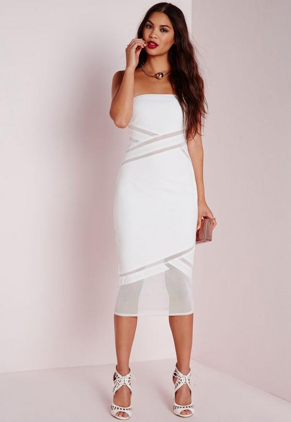 Strapless Mesh Detail Bodycon Dress White