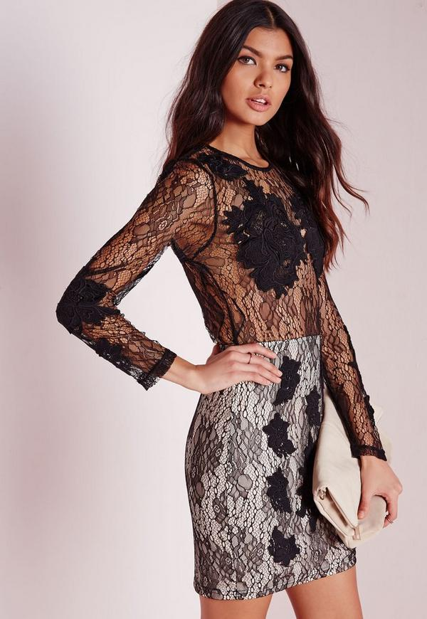 Sheer Lace Long Sleeve Midi Dress Nude/Black