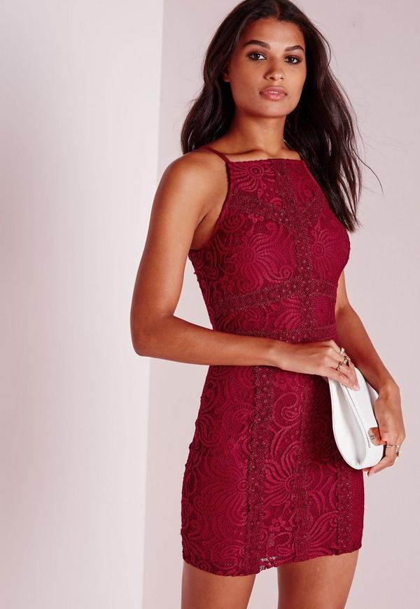 Square Neck Lace Bodycon Dress Burgundy - Dresses - Bodycon ...