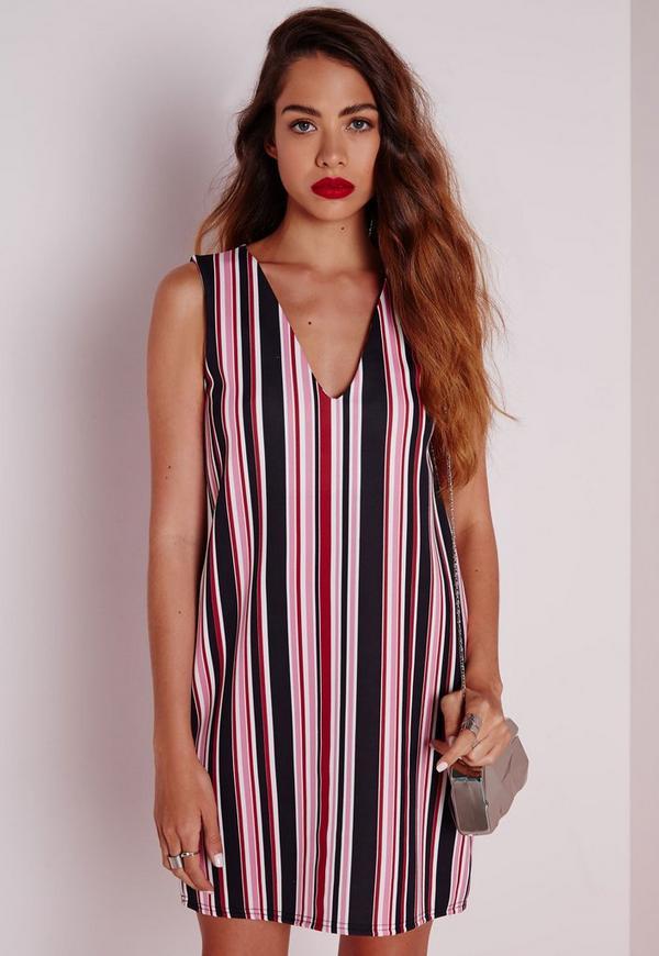 Sleeveless Plunge Shift Dress Pink Stripe