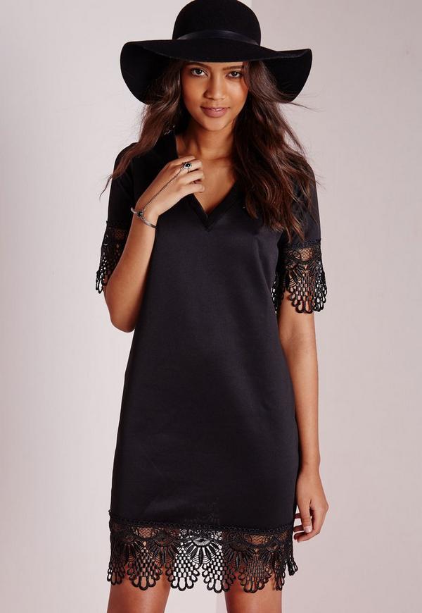 Lace Hem T-Shirt Dress Black
