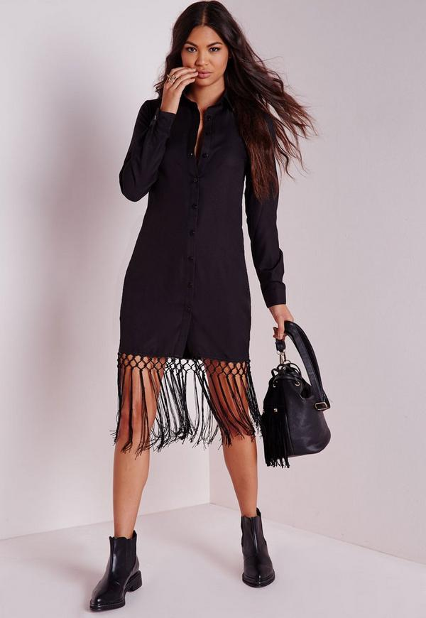 Tassel Hem Shirt Dress Black