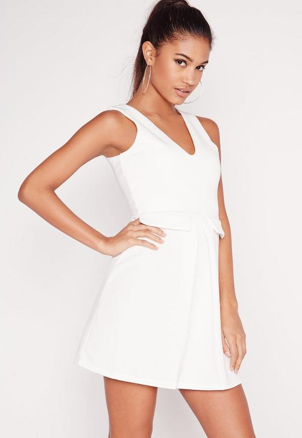 Mock Pocket Plunge Skater Dress White