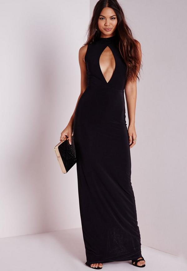 Sleeveless Keyhole Maxi Dress Black