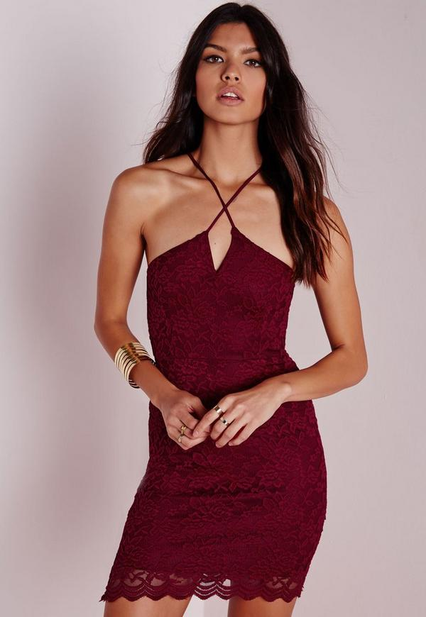 Strappy Cross Front Lace Bodycon Dress Burgundy
