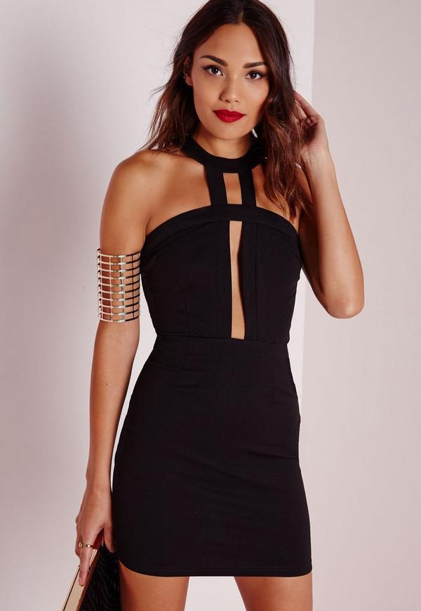 Crepe Neck Detail Sleeveless Bodycon Dress Black