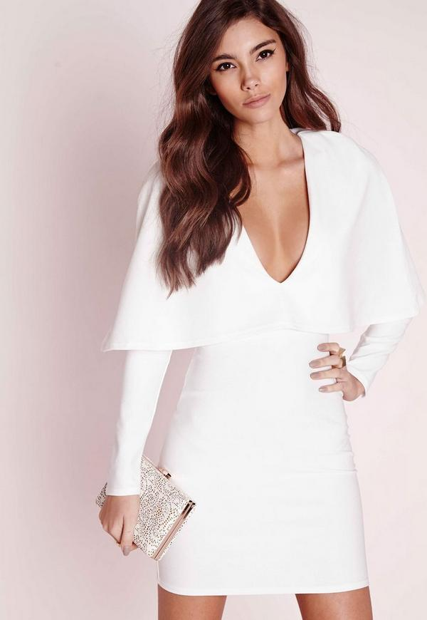 Crepe Long Sleeve Cape Dress White