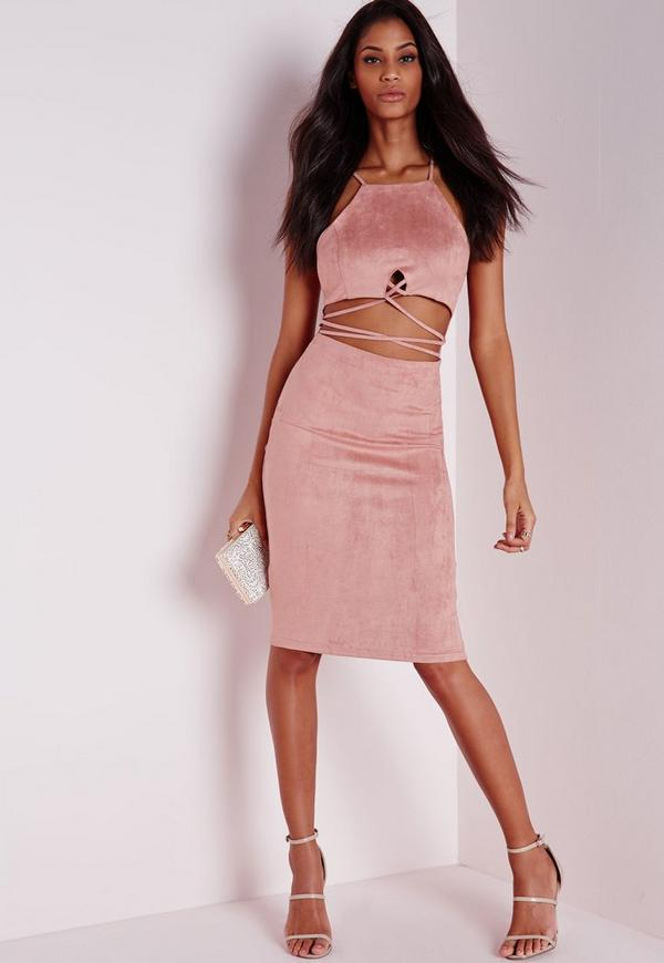 Faux Suede Cross Front Midi Dress Pink